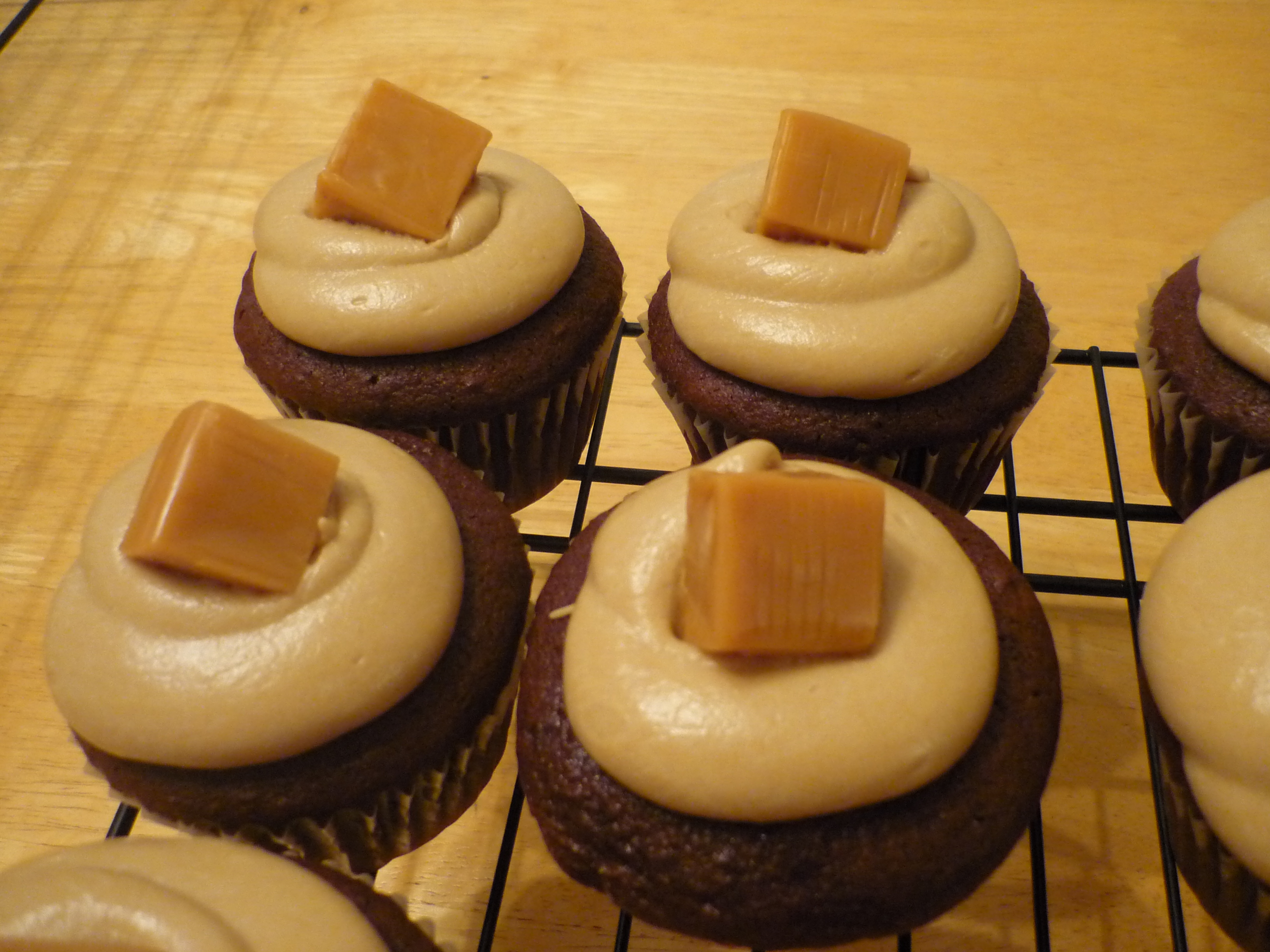 chocolate-caramel-cupcake-with-caramel-frosting-and-topped-with-a ...